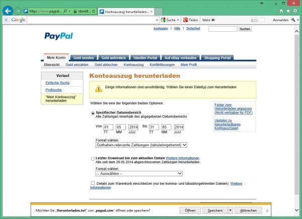 Kontoauszug Paypal